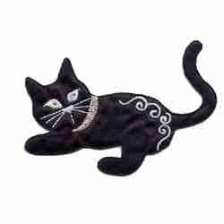Cats - Satin Playful Kitten in Black Iron on Patch Appl
