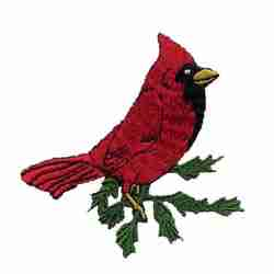 Birds - Cardinal on Branch Iron On Bird Patch Applique