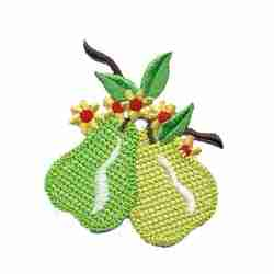 Fruit - Pears - Two Crocheted Pears Iron On Fruit Applique