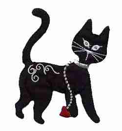 Cats - Walking Black Cat Iron On Applique