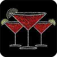 Spirits - Three Rhinestone Martini Glasses Iron On Cocktail Appl