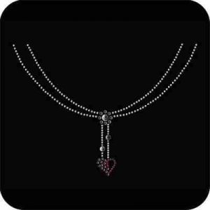 Necklines - Heart Necklace Iron On Rhinestone/Stud/Nailhead Neck