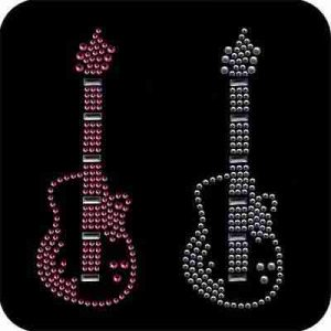Sold Separately: Rhinestud Electric Guitar Iron On Musical Applique available in Pink or silver