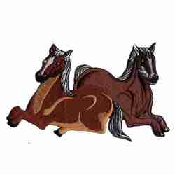 Horses - Two Sitting Equestrian Friends Iron on Patch Applique