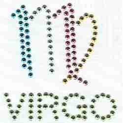 Rhinestone VIRGO Zodiac Sign Iron On Patch Applique