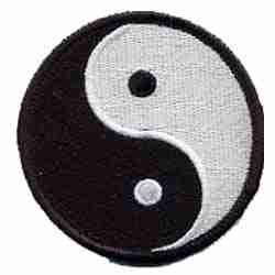 Yin Yang Black/White 2.5 inch Iron On Patch Applique