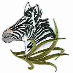 Zebra Head Hidden in Tall Grass