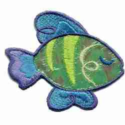 Fish - Holographic Green Fish Iron On Patch Applique