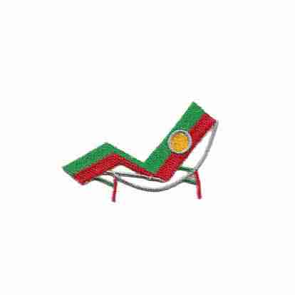 Red and Green Lounge Chair Iron On Applique