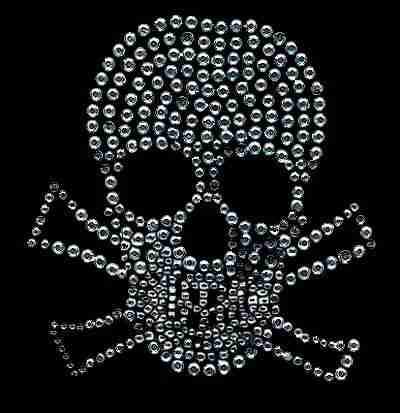 Rhinestone skull hotfix applique
