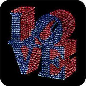 Love Applique in Red and Blue Rhinestuds