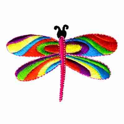 Dragonflies - Short Winged 60's Multi-Colored Dragonfly Applique