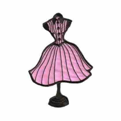 50s Pk/Blk Striped Dress on Mannequin Iron on Patch
