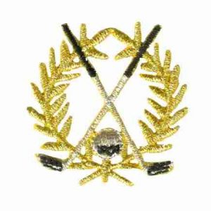 Golf - Small Gold Golf Crest Iron on Patch Applique