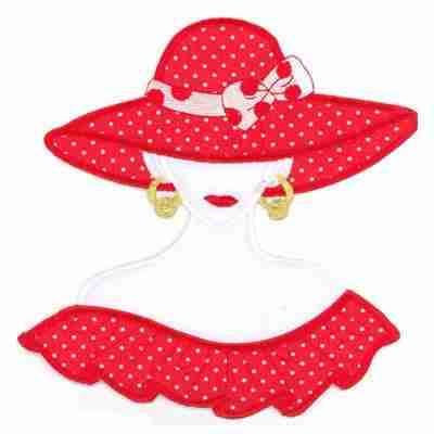 Large Red Hat Lady Polka Dots Iron On Applique
