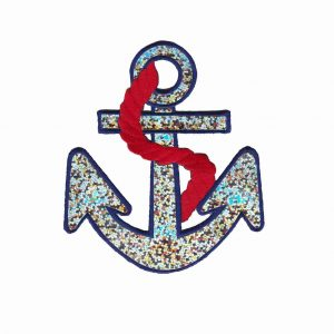 Silver Iridescent Anchor Iron On Patch Applique