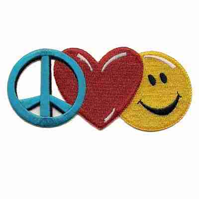 Large Peace Sign Heart And Smiley Face Iron On Peace Patch Applique