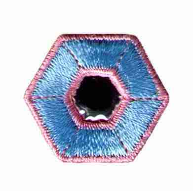 Pastel Pink and Blue Hexagon with Mirror Center Iron On Patch