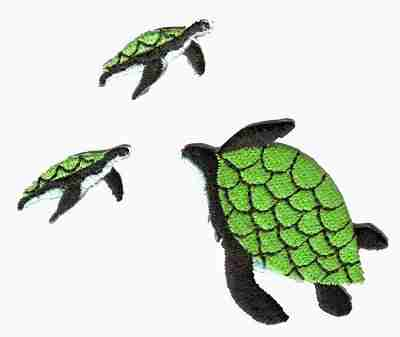 Mama and Baby Green Sea Turtles Appliques