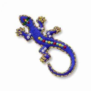 Lizard - Royal Blue Jewel Iron On Reptile Patch Applique