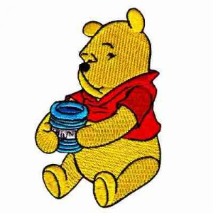 Winnie the Pooh Bear with Honey Jar Iron On Applique