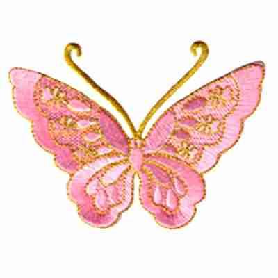 Butterflies - Pink Metallic Thread Butterfly Iron On Patch Appli