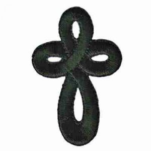 Black Embroidered Celtic Cross Iron on Patch Applique