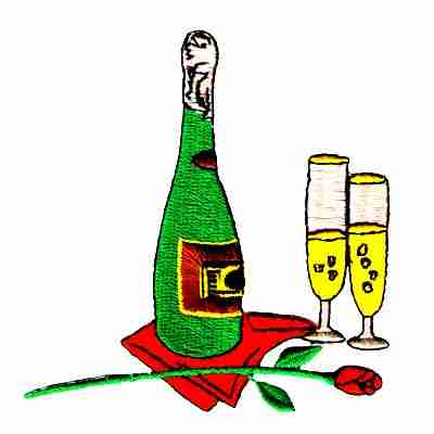 Spirits - Romantic Champagne Setting w/Rose Iron On Patch Appliq