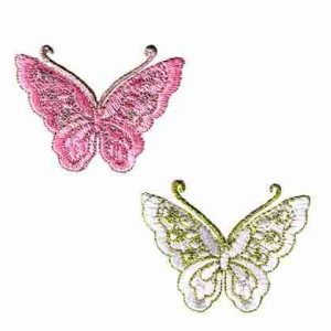 Butterflies - Gold Thread Butterfly in PINK or WHITE Iron On App