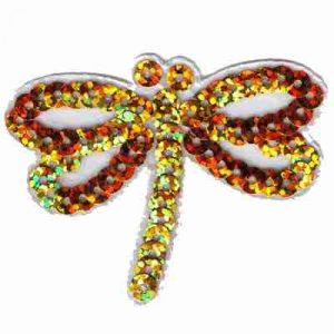 Dragonflies - Gold Iridescent Sequin Dragonfly Iron On Patch App