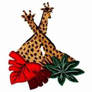 Giraffe - Double Giraffe with Felt Leaves Iron On Patch Applique