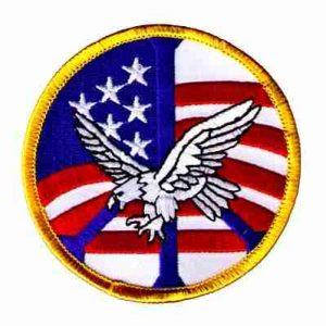 American Flag Peace Sign Eagle Iron On Patch Applique
