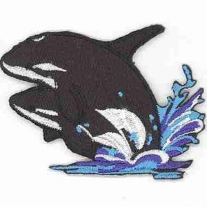 Whales - Large Killer Whales in Water Iron on Patch