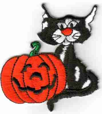 halloween black cat with carved pumpkin patch applique