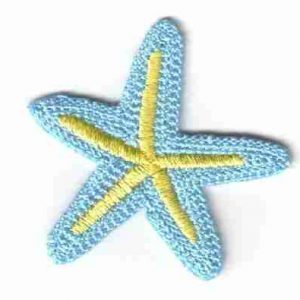 Starfish - Pastel Blue & Yellow Starfish Iron On Patch Applique