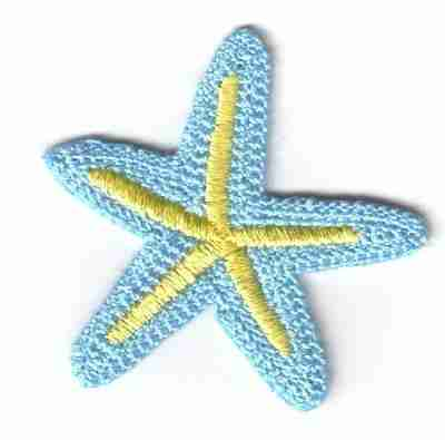 Starfish - Pastel Blue & Yellow Starfish Iron On Patch Applique