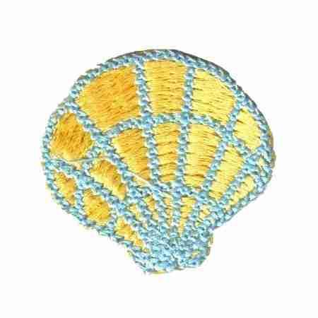 Shells - Pastel Blue & Yellow Seashell Iron On Beach Applique