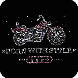 Motorcycles - Born with Style Rhinestone Biker Iron on Applique