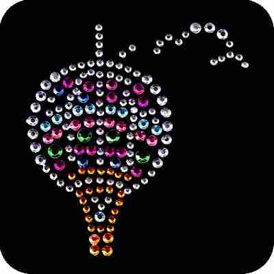 Hot Air Balloon Rhinestones Iron On Appliques