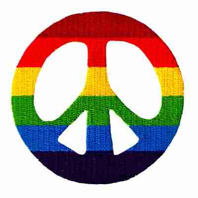 Rainbow Cutout Peace Sign Iron On Patch Applique