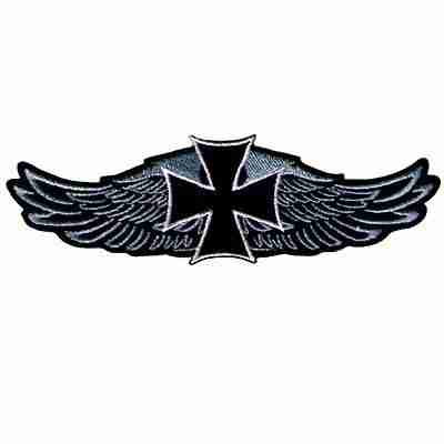 Gothic Cross on Harley Wings Iron On Biker Patch
