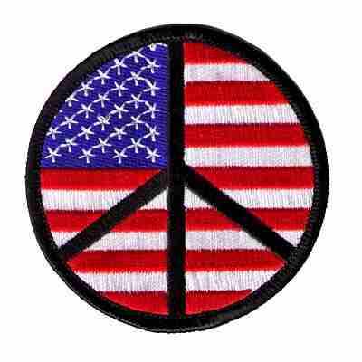 American Flag Peace Sign Iron On Patch Applique