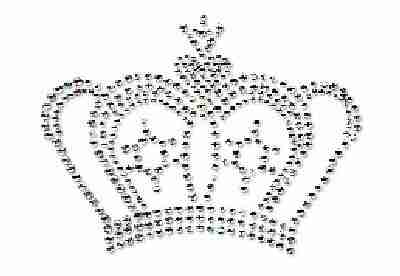 Crowns - Royal Silver Crown Iron On Rhinestone Applique