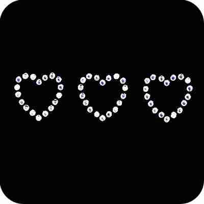 Hearts - 3 Crystal Hearts Iron On Rhinestone Applique
