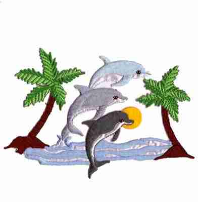 Dolphins - Dolphins in Tropical Scene Embroidered Patch Applique