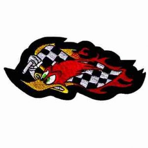 Wild Woody Woodpecker w/Racing Flag Iron On Cartoon Patch - 2 le