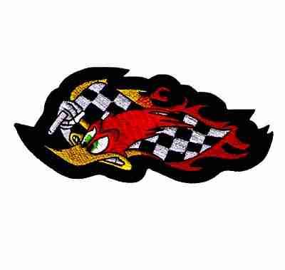 Wild Woody Woodpecker w/Racing Flag Iron On Cartoon Patch - 2 le