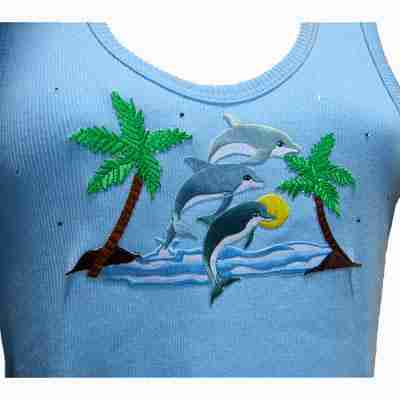 Example of Dolphin applique on ladies tank top