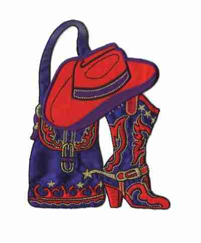 Red Hat Lady Western Accessories Iron On Applique