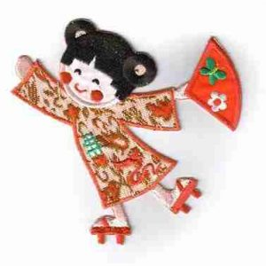 Dancing Asian Girl with Red Fan Iron On Applique